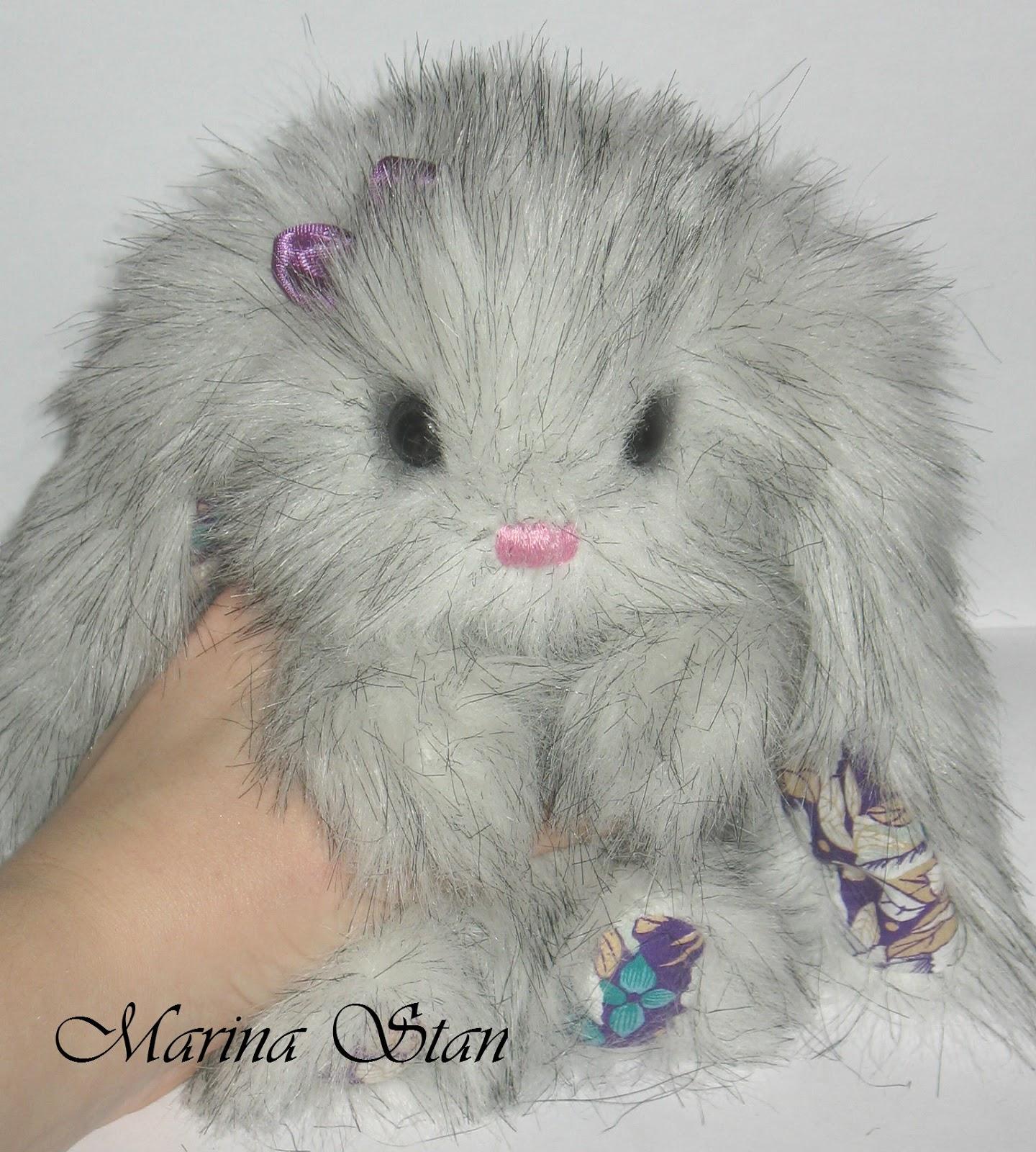 Зайчик из меха кролика своими руками 55