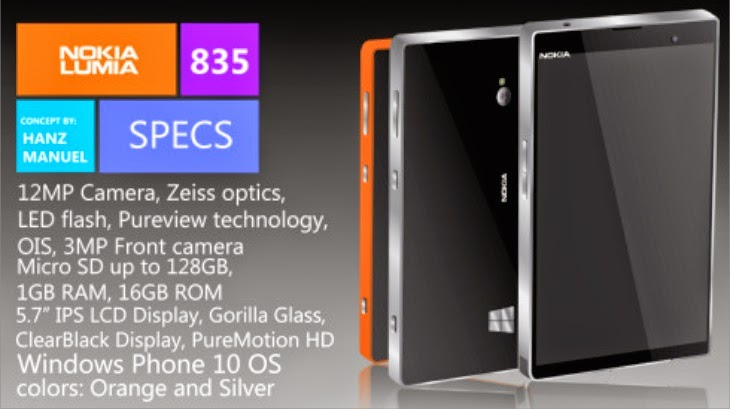 New Nokia Lumia 835 Complete Pure View Specification