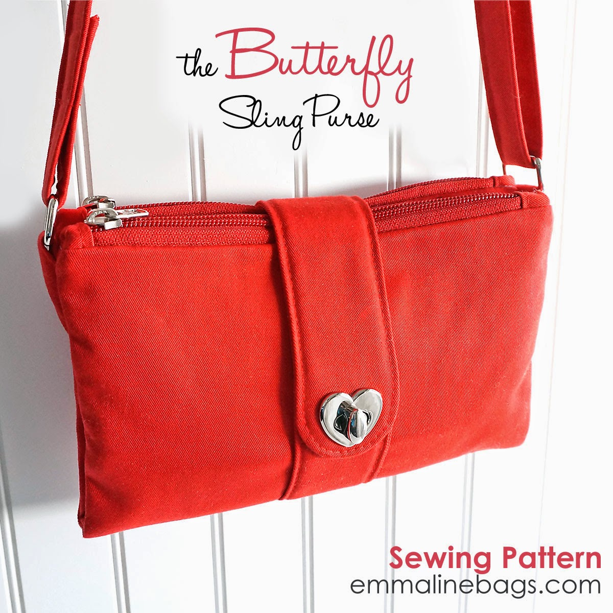 The Butterfly Sling Purse sewing pattern by Emmaline Bags