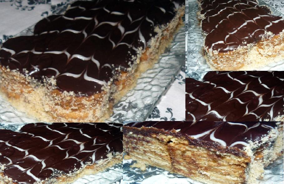 en les superposant, et glacé de chocolat.