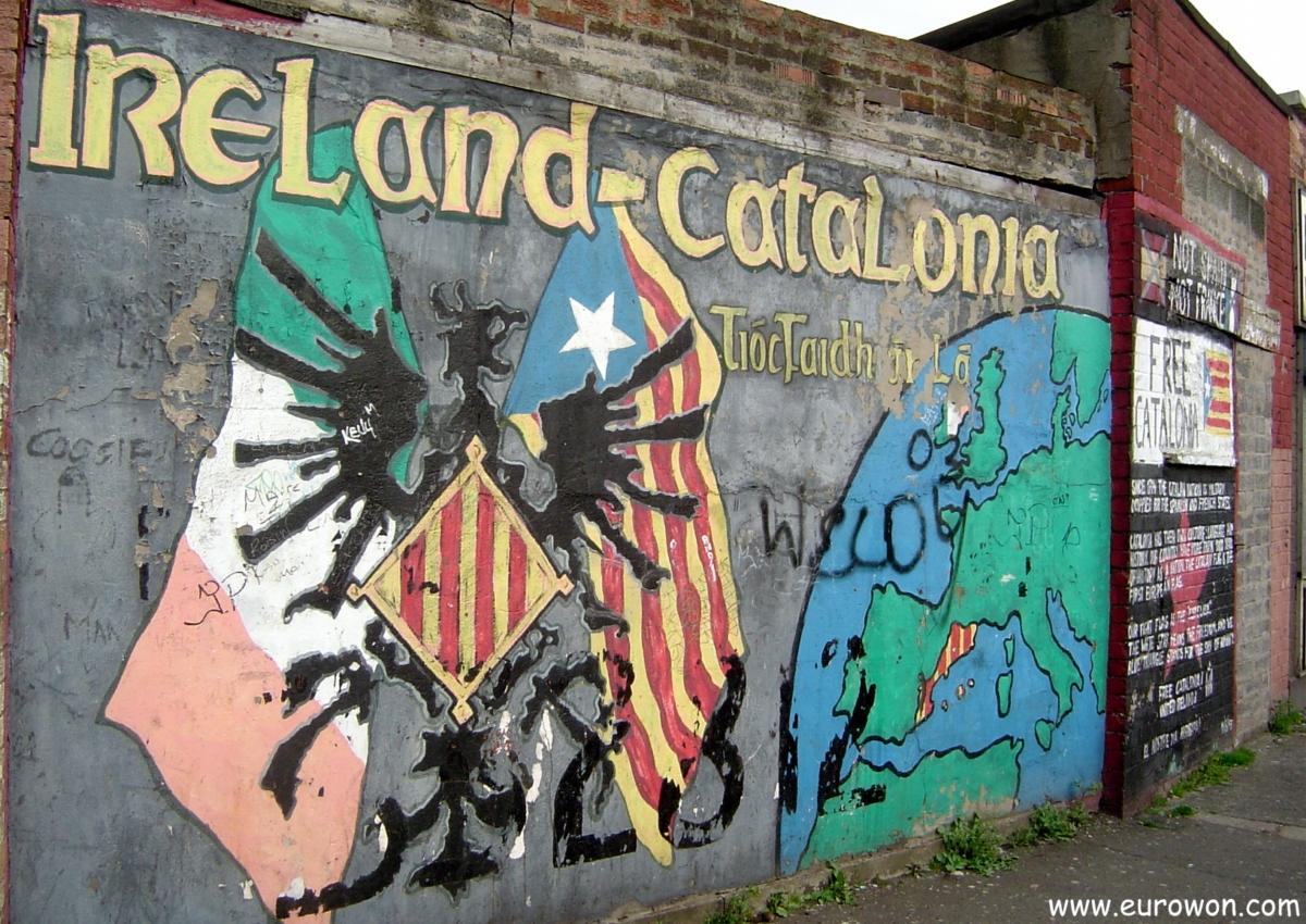 Mural dedicado a Cataluña en Belfast