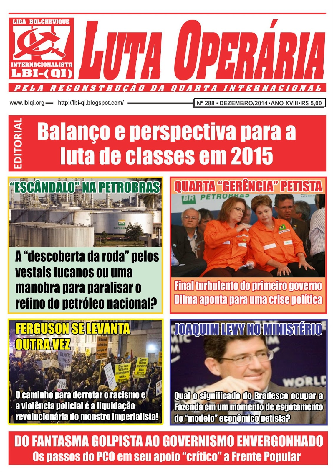 LEIA A EDIÇÃO DO JORNAL LUTA OPERÁRIA Nº 288, DEZEMBRO/2014