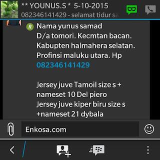 gamabr screen shot testimoni enkosa sport toko online terpercaya Detail pesanan dan alamat lengkap Yunus Samad di enkosa sport