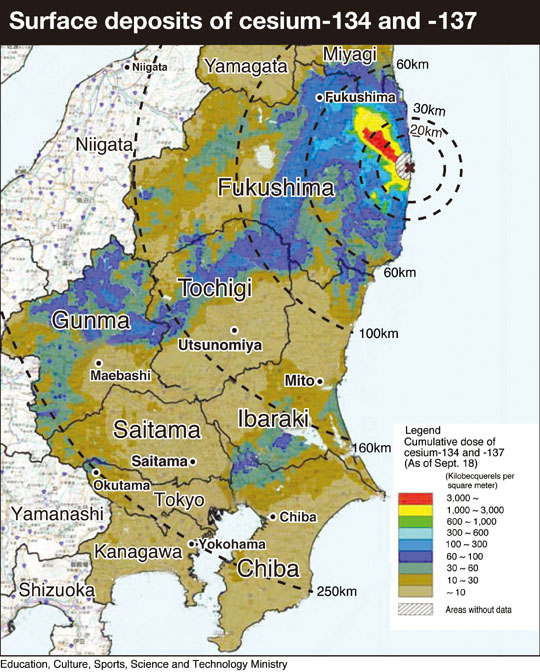 ☢ Japan Soil Contamination Map Hotspots Outside Tokyo Okutama ...