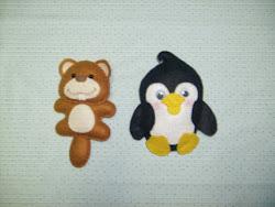 Castor e Pinguim de feltro