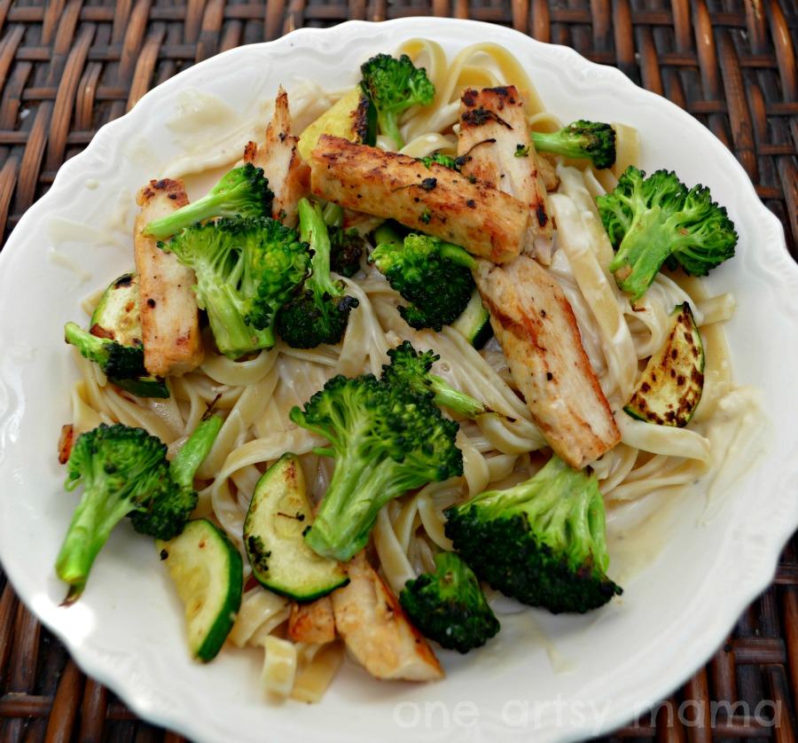 Easy, Healthy{ish} Chicken Vegetable Alfredo - One Artsy Mama