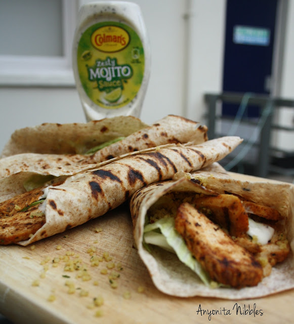 Zesty Mojito sauce and chicken tikka wraps from www.anyonita-nibbles.com