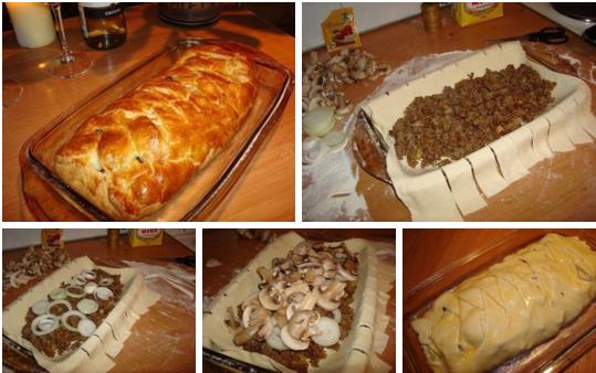 Быстрый мясной пирог с грибами