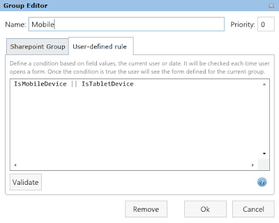 Group of SharePoint forms for mobile devices