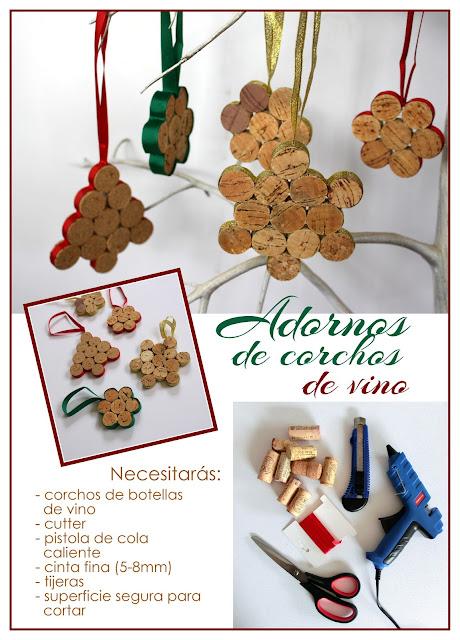 DIY navideño: adornos de corchos de vino reciclados