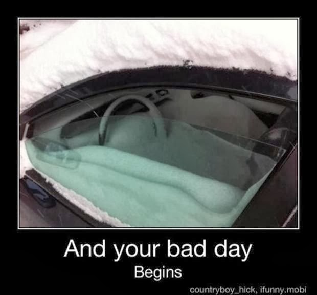 your bad day begins, winter, winter funny, snow fail
