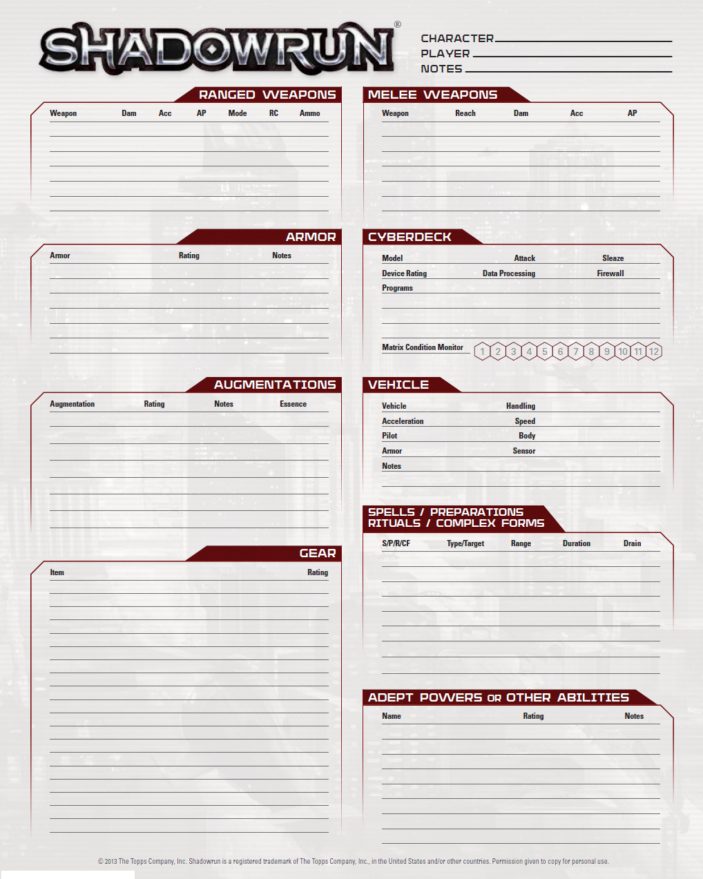 shadowrun charactersheet Shadowrun and classic gaming [edit | edit source] most of the classic shadowrun archetypes map to classic roleplaying conventions street samurai are warriors/fighters mages are a.