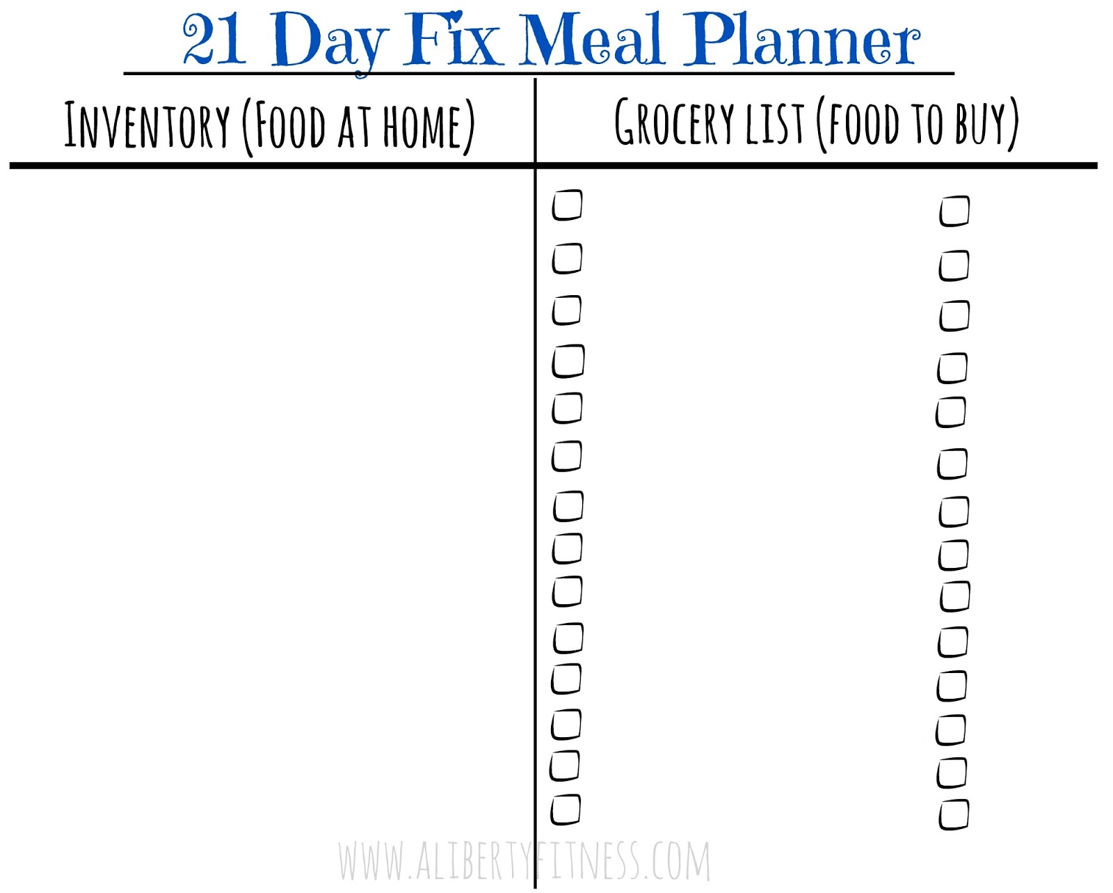 grace grit 21 day fix meal planner and grocery list
