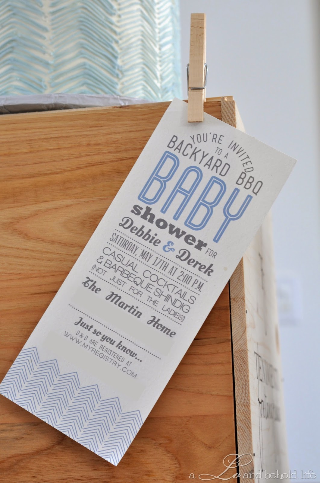 rustic backyard bbq baby shower | a lo and behold life, Einladung
