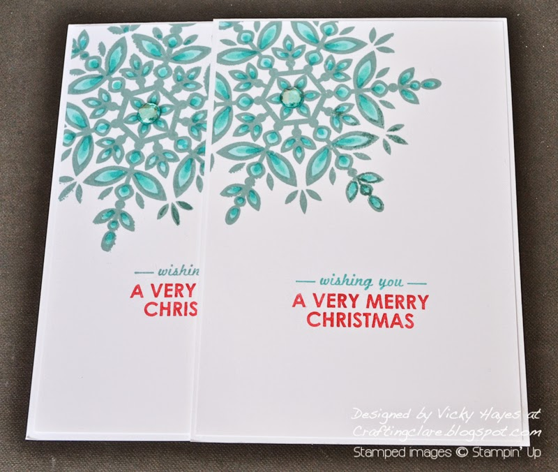 Christmas cards using Festive Flurry designed by independent Stampin' Up demonstrator Vicky Hayes