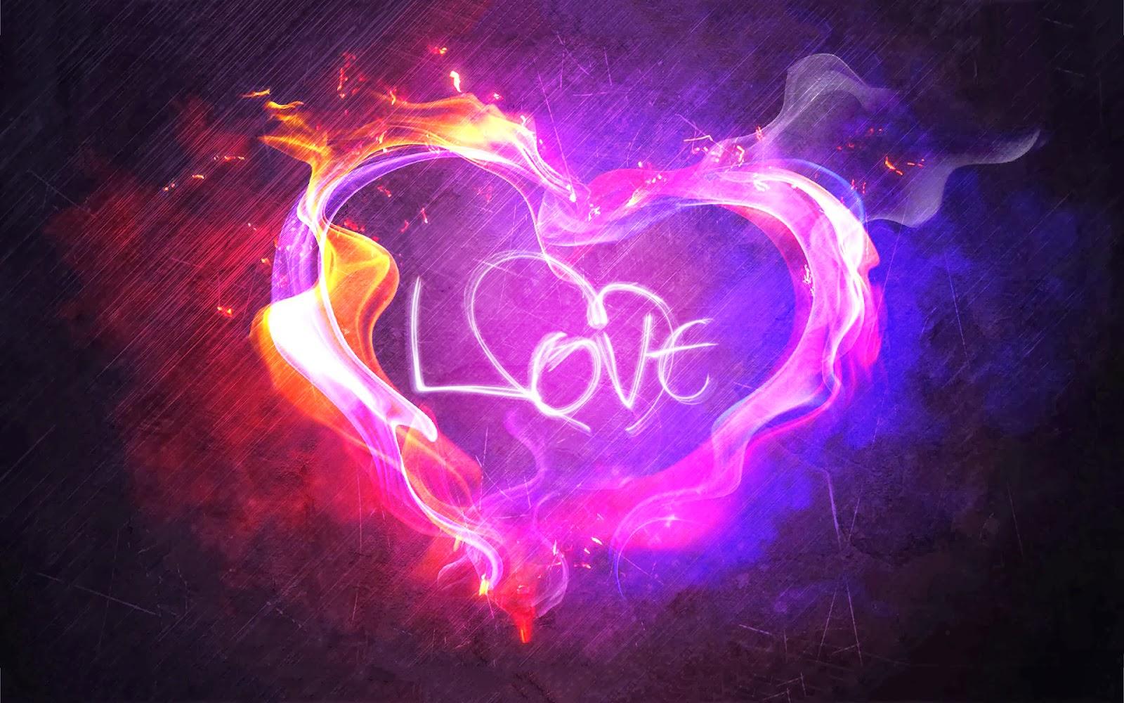 Heart love Flame Valentine Wallpaper