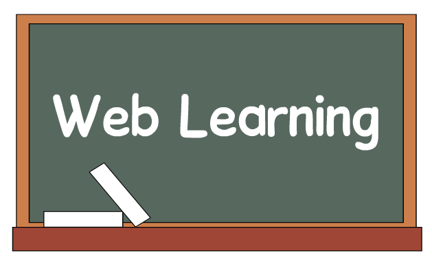 Blackboard showing the text web learning from which elerning has been derived