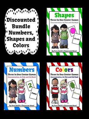 Fern Smith's Shapes, Colors and Numbers Math Center Card Games!