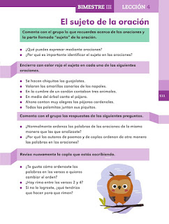 Apoyo Primaria Español 2do grado Bloque 3 lección 4 El sujeto de la oaración