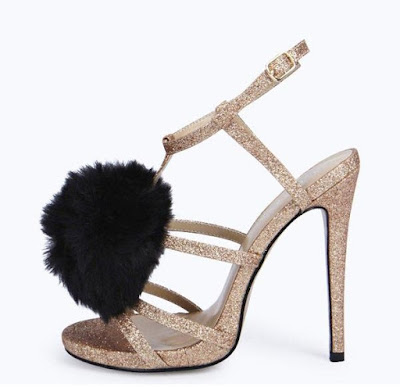 Boohoo high heeled sandals with black pom poms