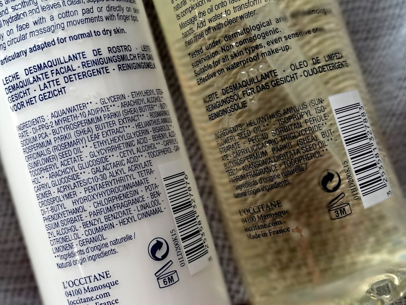 L'Occitane Shea Butter Cleansing Oil and Cleansing Milk Ingredients