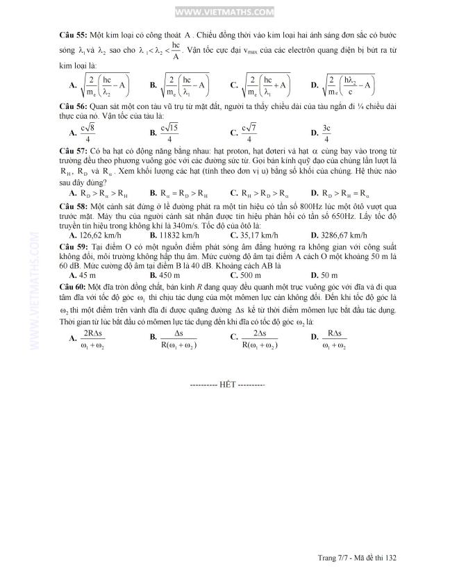 đáp án chính thức đề thi đại học môn lý 2013 khối a