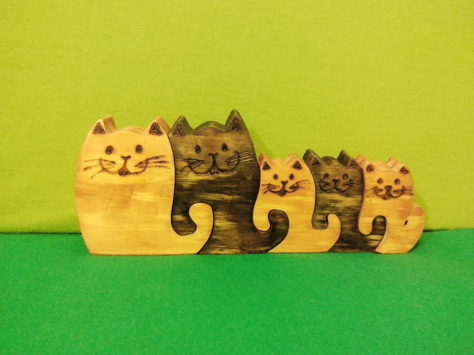 artesanato gatos quebra cabeça madeira brasilia df