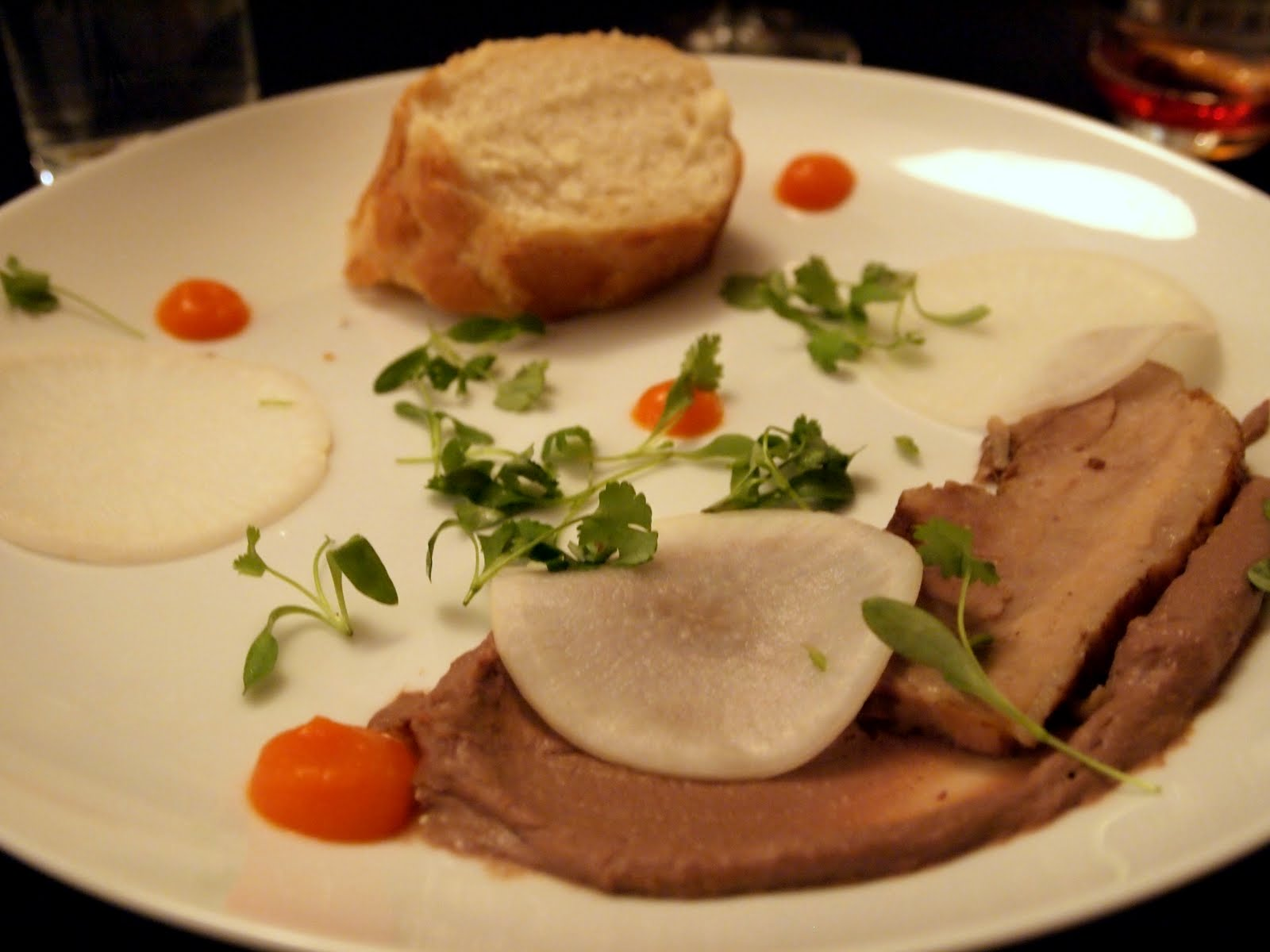 course #4: deconstructed bahn mi w/ pork belly, chicken liver mousse ...