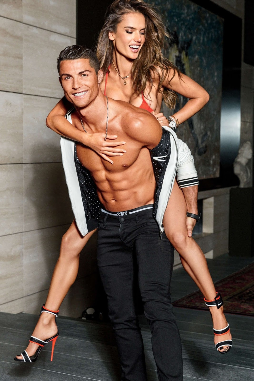 Alessandra Ambrosio and Cristiano Ronaldo in GQ US – The Body Issue – February 2016