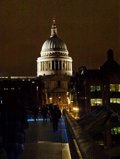 London at night, St Paul's, south bank