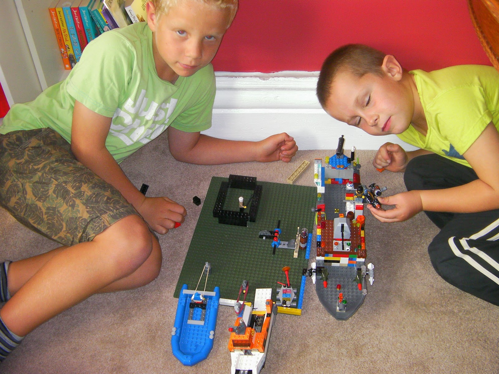lego docks with police boat and rocket launchers