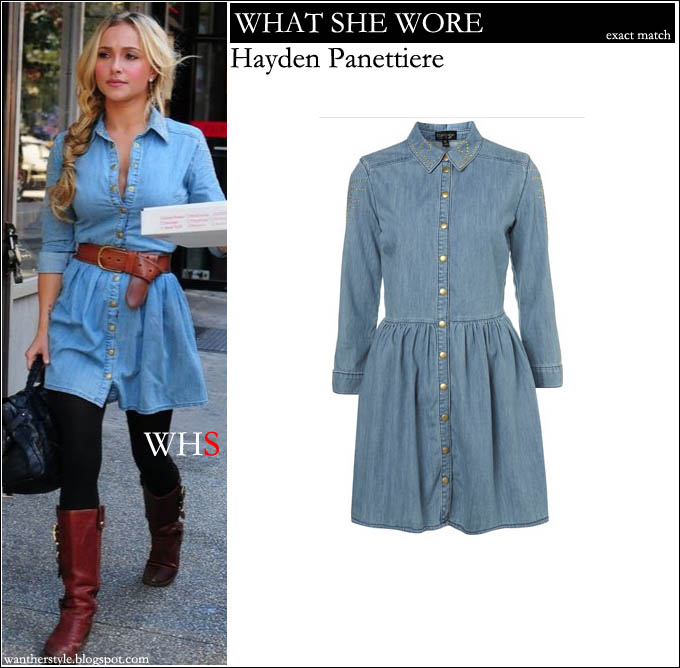 hayden panettiere, denim, dress, blue, style,