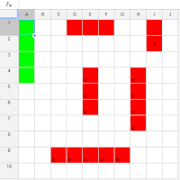 An example of virtual game board of Battleship in spreadsheet