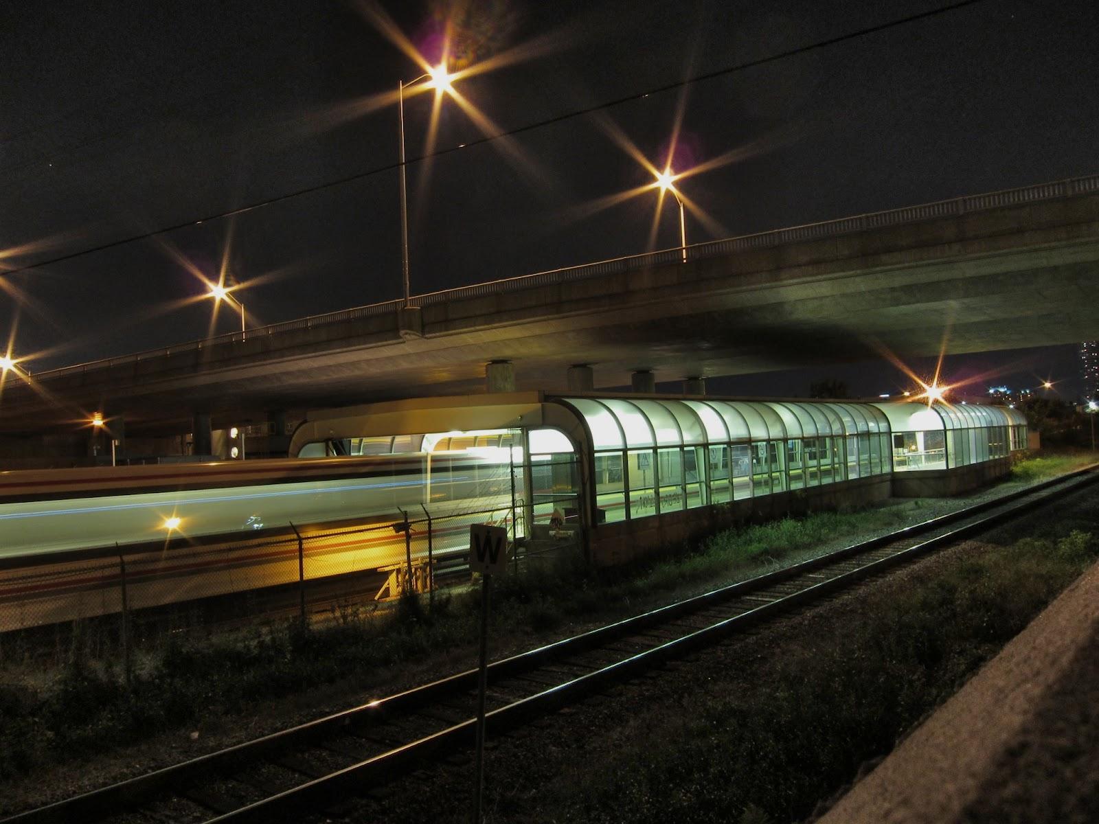 Ellesmere station exterior night view
