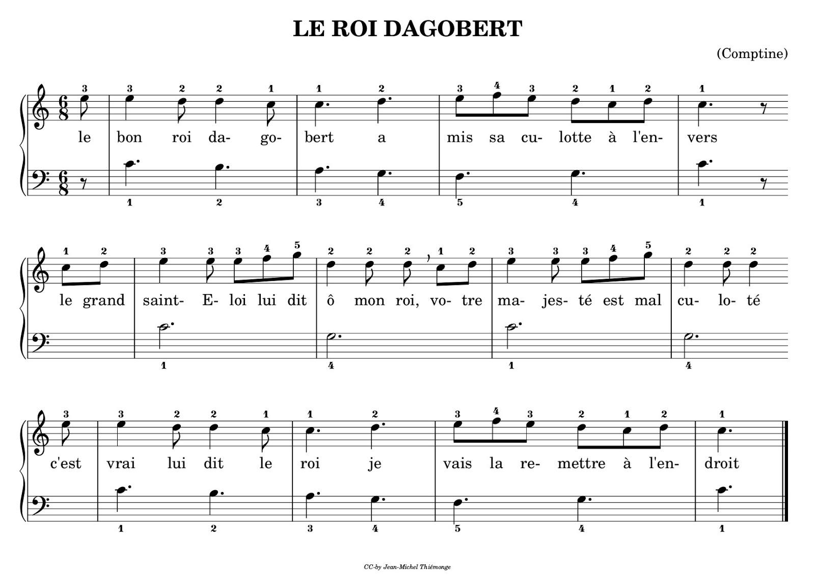 Célèbre PIANO GNU: LE ROI DAGOBERT GB89