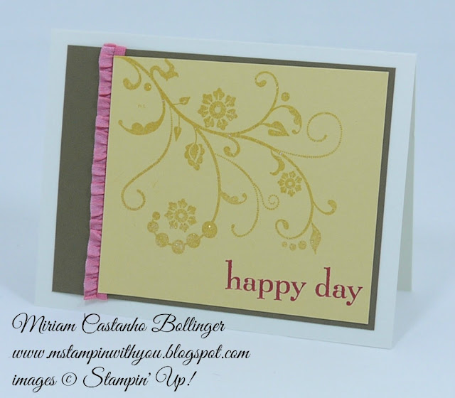 Miriam Castanho Bollinger, #mstampinwithyou, stampin up, demonstrator, ppa254, bridal card, wedding card, heat embossing, flowering flourishes, happy day stamp set, su