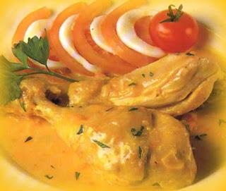 Pollo frito al azafrán