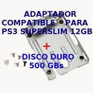 Adaptador o soporte de montaje para poder instalarle un nuevo disco duro a los nuevos PS3 SUPER SLIM 12 GB