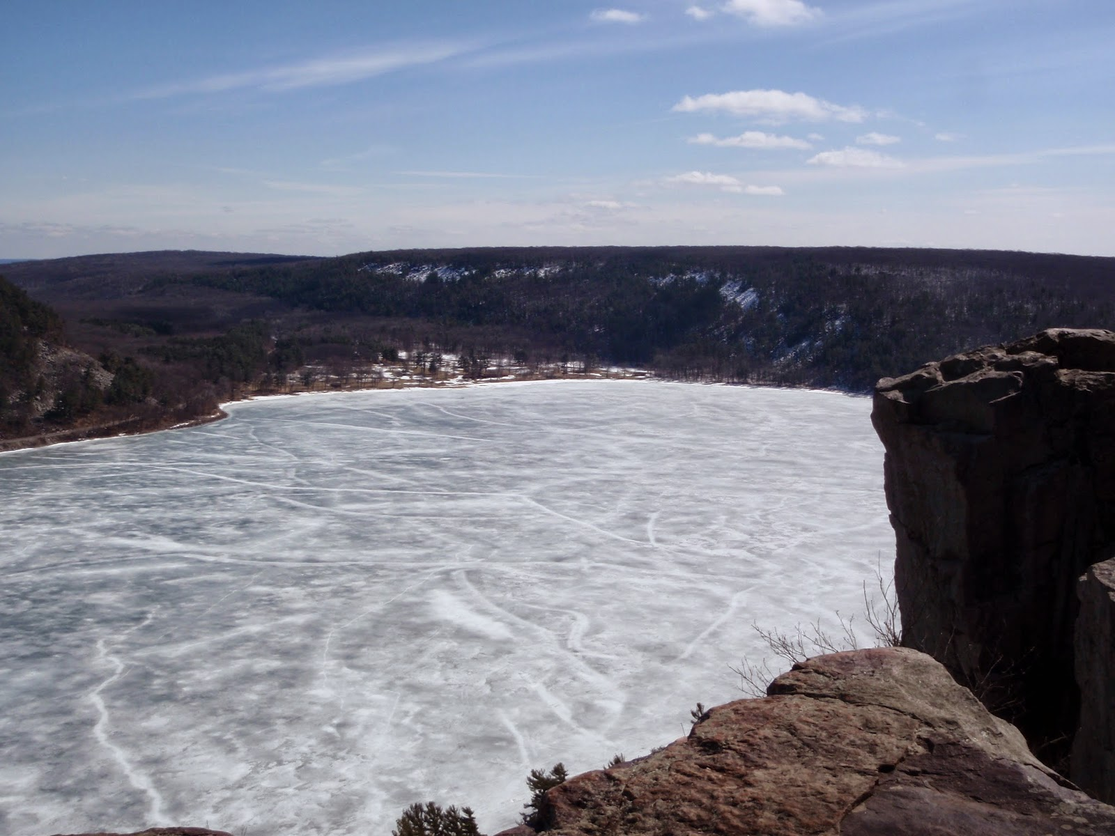 Devils Lake frozen over