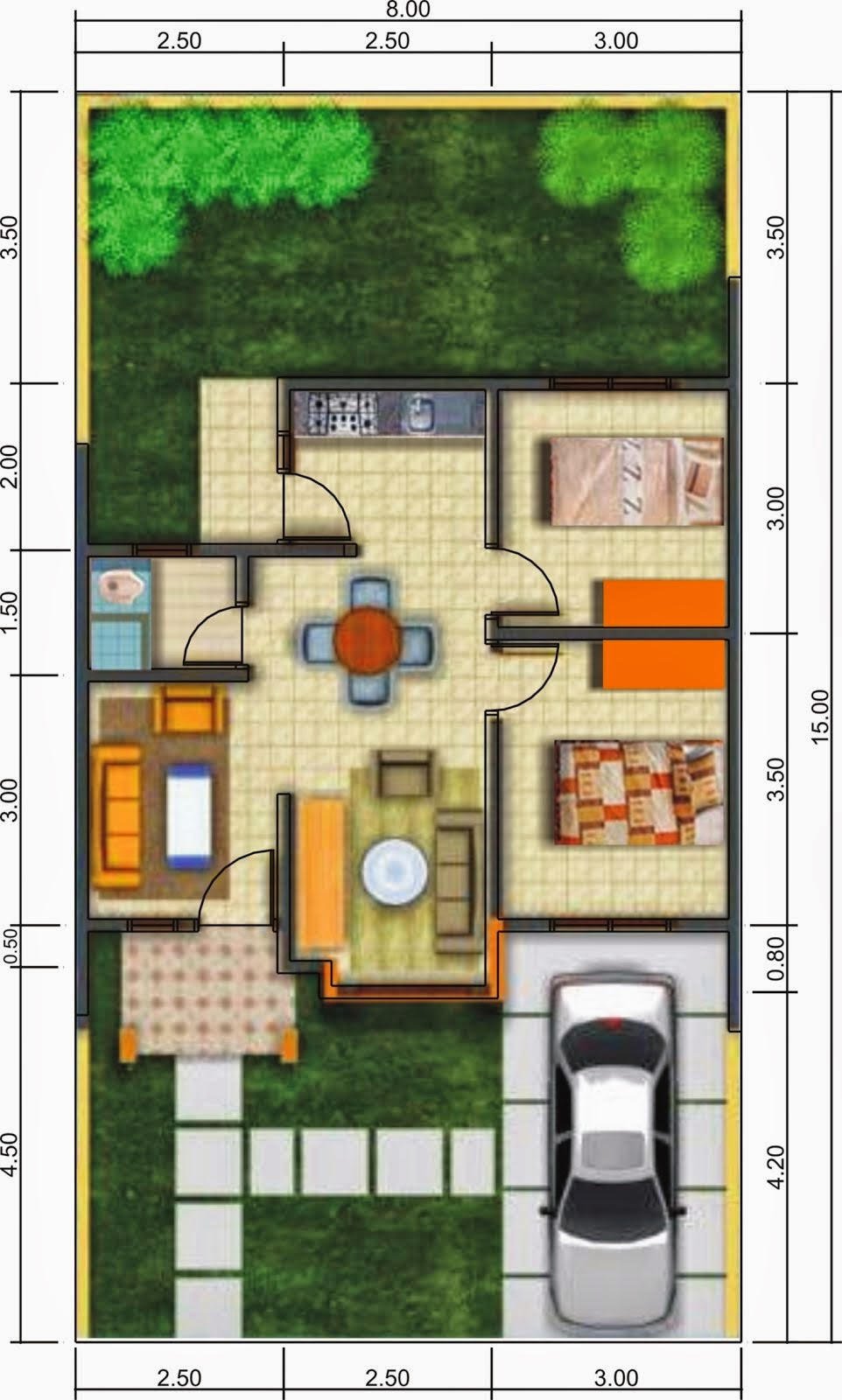 Gambar Denah Rumah Minimalis Modern 1 Lantai Terbaru 2020
