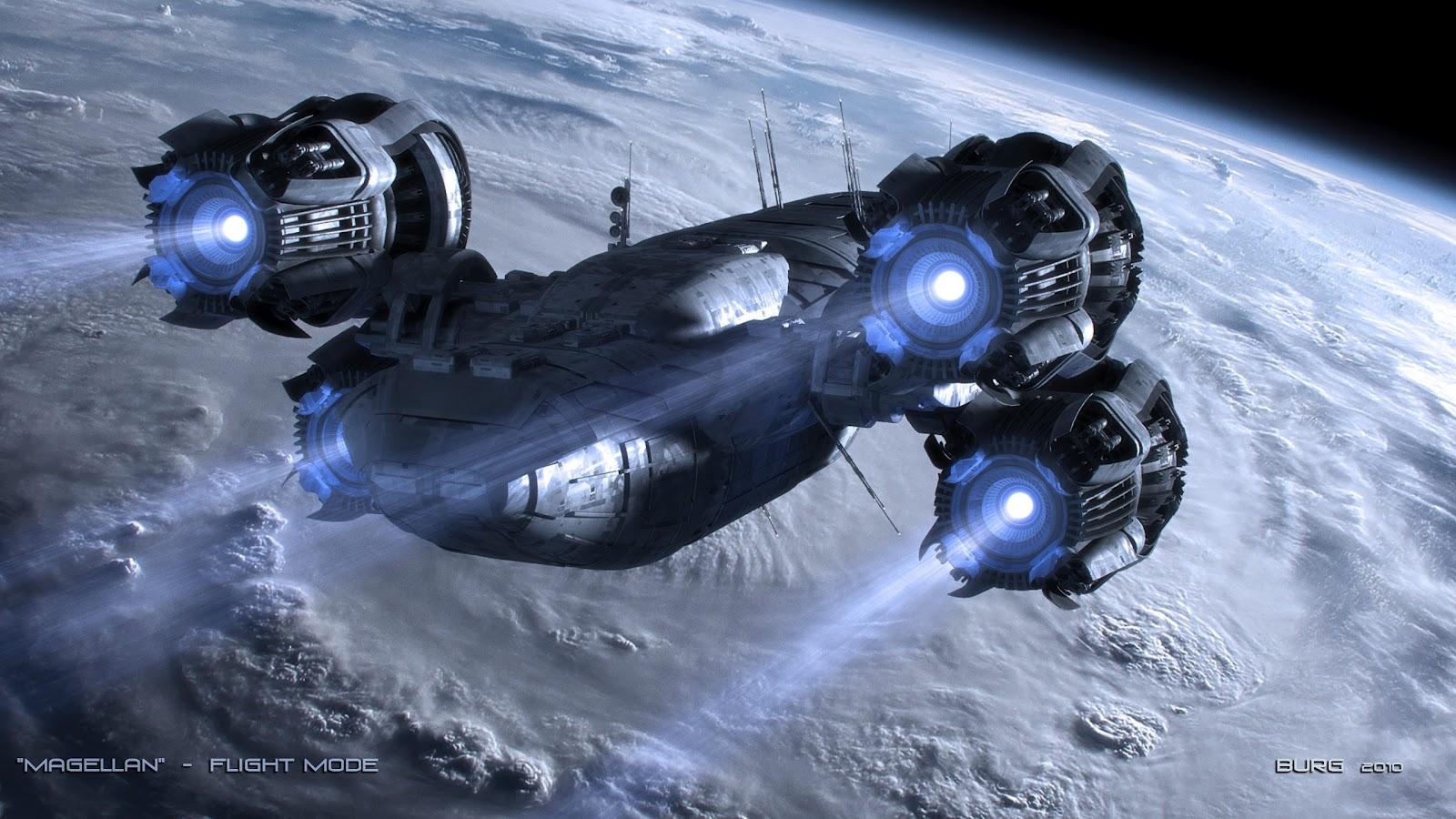 青い光の宇宙船