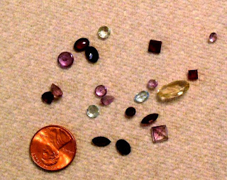These are the gems I found.  Several of them, including the yellow oval, I watched as they appeared on the carpet before me.