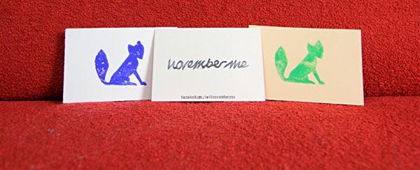 November Me-Visitenkarten. Foto: Johannes Fichtner