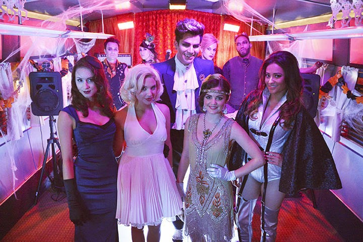 adam lambert with the cast of pretty little liars and his backing band 10 2012