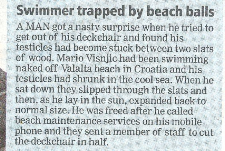 funny article about a swimming man