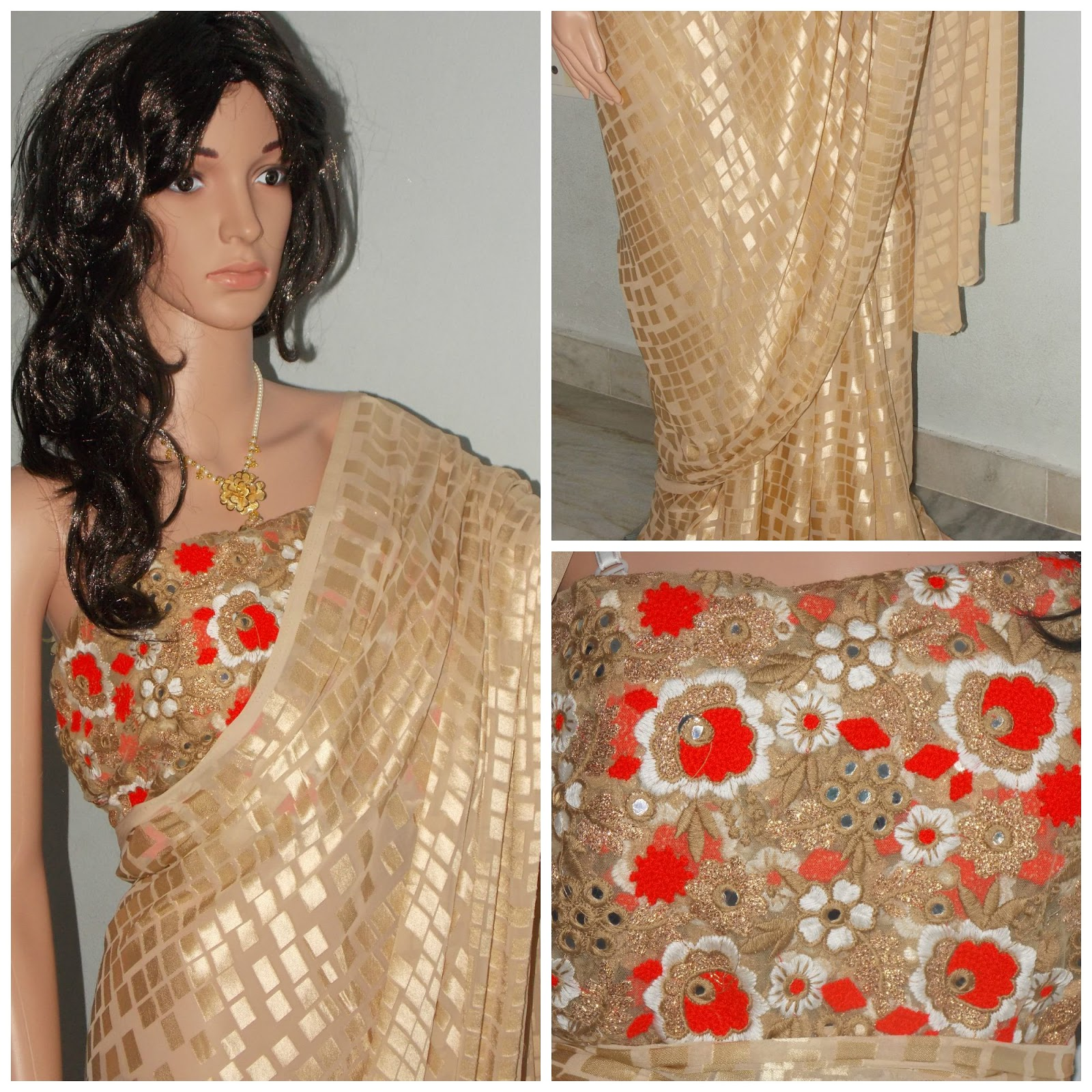 Suvarna Designer Sarees and Blouses: Glittering look for Beautiful ...