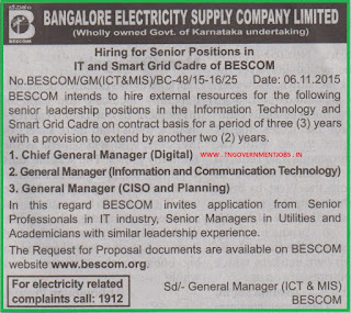 Applications are invited from experienced professional for in senior leadership positions in BESCOM Bengaluru on contract basis appointment