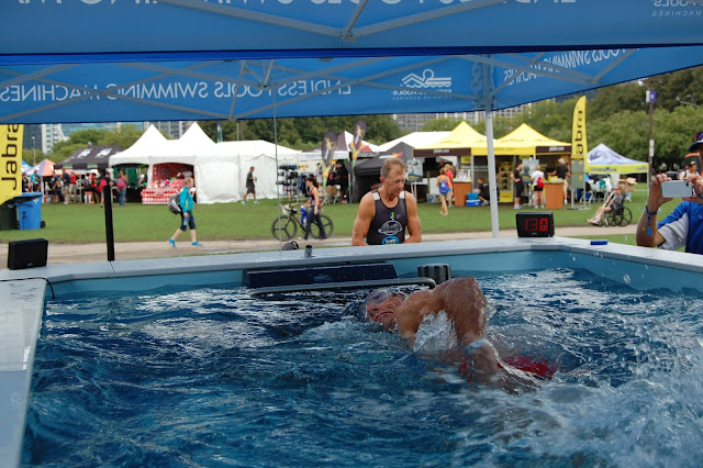 A swimmer in the High-Performance Endless Pool at the ITU World Triathlon Grand Final Chicago.