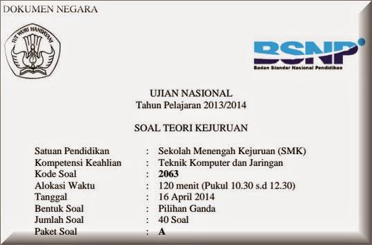 Soal Teori Kejuruan Tkj 2014 Ukk Smk 2012 2013 2014 2015 2016