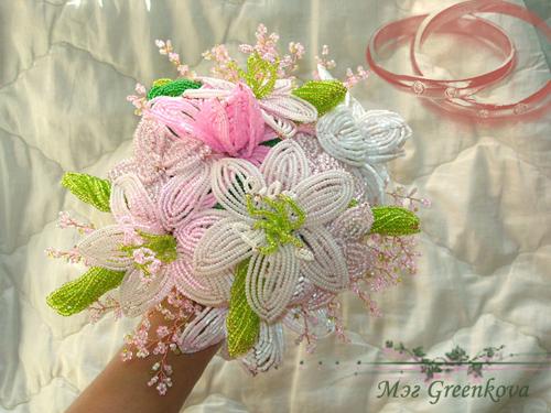 Бисеринка: Свадебные букеты из бисера2